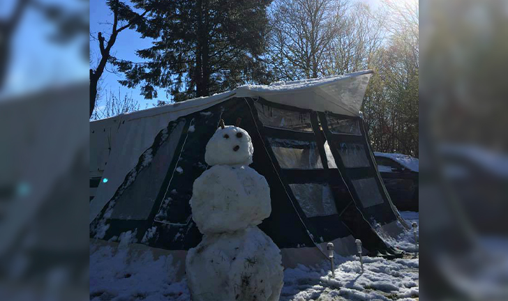 Combi-Camp Country vouwwagen in de sneeuw